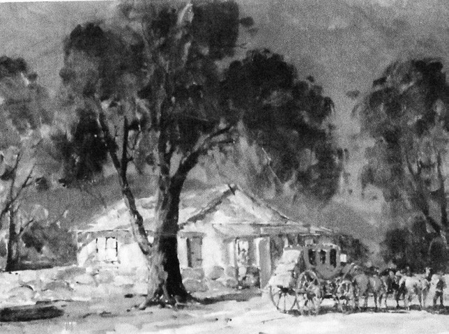 Painting by Marjorie Reed depicts the stagecoach stop at the intersection of VC and Pala Roads, which is occupied by today's Stagestoop Liquor store.