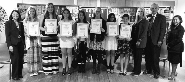 Recently the VC Rotary Club honored Rotary Students for the month of January. The students (from left) are: Sydney Park, Gr. 12, Cheyanna Phelps, Gr. 11, Sierra Sisler, Gr. 10, Brenda Munoz, Gr. 9 Brynn Bacjman, Gr. 9., Anisha Chowdhry, Gr. 8, Alyssa McKeever, Gr. 7. On the left of the group is VCP Unified School District Supt. Mary Gorsuch and on the right is Tom Stinson, representing Marie Waldron of the 75th Assembly District.