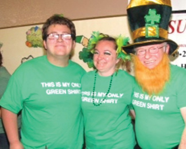 Dressing up in 40 shades of green and wearing zany hats and beards is all part of the fun at the annual Irish Stew Cook-off, which will be held in St. Stephen Hall March. 12. —Photo courtesy of John Yeager