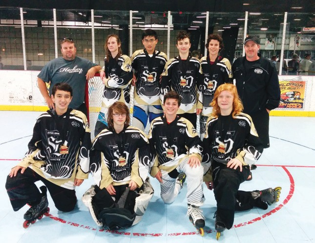 Local Escondido residents, Kris Coker, (bottom row, far right), Oskari Vakki (top row, second from left), and Sam Cavassa (top row, second from right) win in-line hockey tournament with the San Diego District Hockey League. On February 23, lead by coaches Mike Lichtenfels (left) and Jason Coker (right), the District Hockey San Diego Selects took the gold in the WIHA Championship in Irvine, CA.