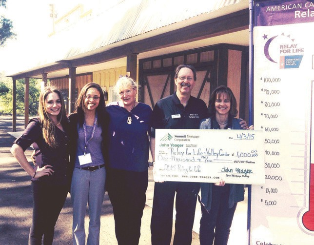 John Yeager with Summit Mortgage donated $1,000 Friday morning to the Relay For Life Valley Center at the Valley Center Chamber of Commerce Sunriser. Shown with Yeager are (from left) Julia Boulos, Tasha Meredith, Bobbie Weiss, John and Michelle Wick.