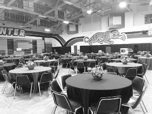 Decorated tables at the VCHS gym await the Jaguar Auction.