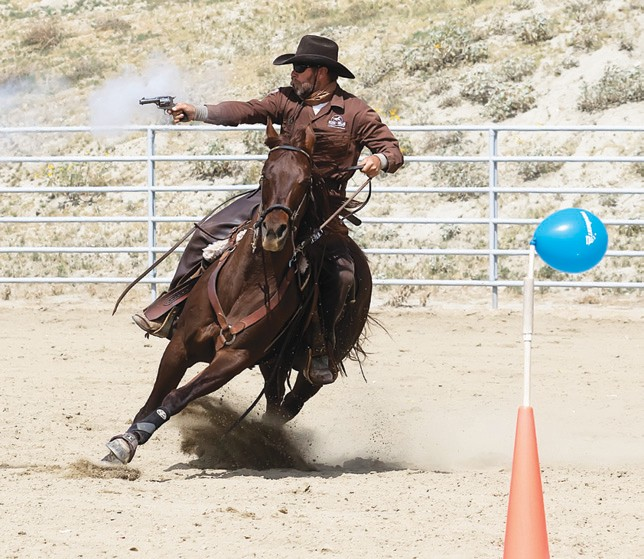 Kenny Lawson in action at a Mounted Cowboy Shooting course. See him in person this Sunday at the rodeo grounds.
