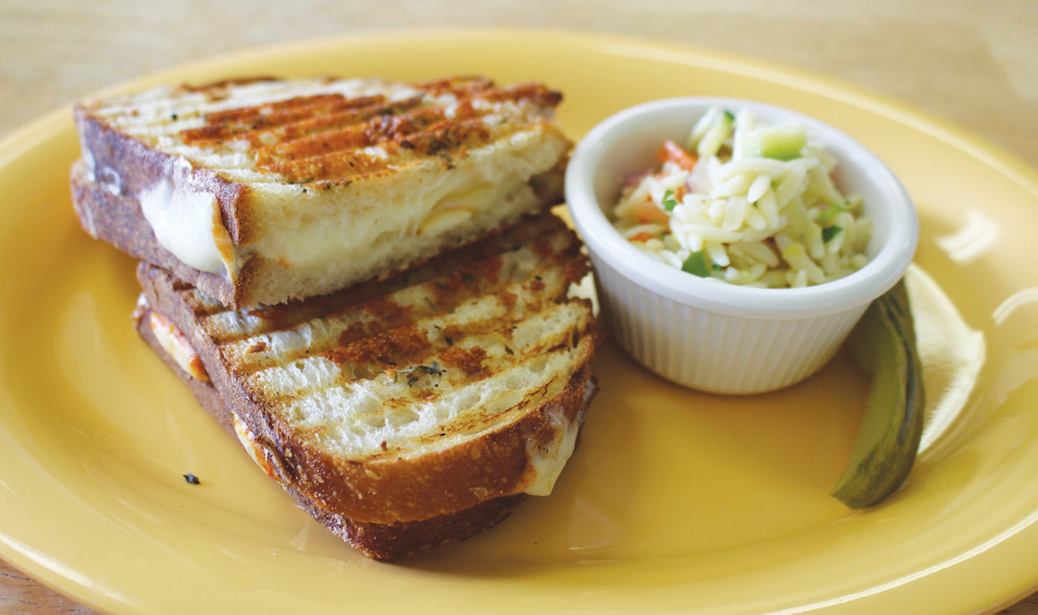The basic cheese panini, served with orzo salad.