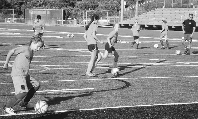 Dribbling skills were greatly emphasized at the Jaguar Soccer Camp