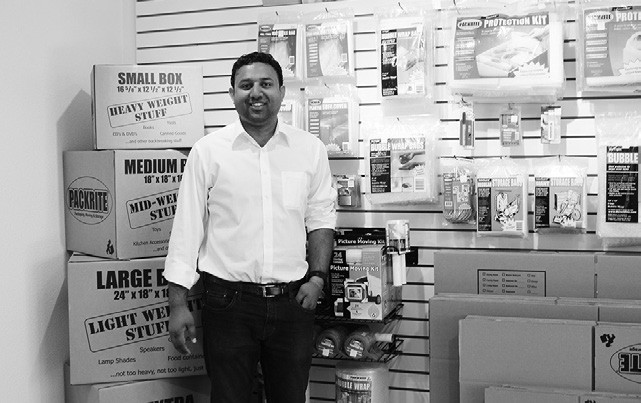 Neil Kadakia, owner-manager of Valley Center Self Storage, which has a complete line of moving supplies.
