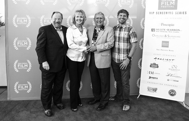 Dale Strack, CEO Chairman San Diego Film Festival Foundation, and Tonya Mantooth, executive director, accept $10,000 donation from John Lara and David Verdugo, members of the Rincon Band of Luiseño Indians.