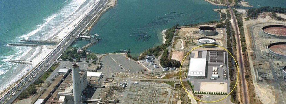 Aerial view of Carlsbad desalination plant (circled).