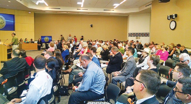 The Planning Commission hearings on Lilac Hills Ranch Friday brought out a large crowd.