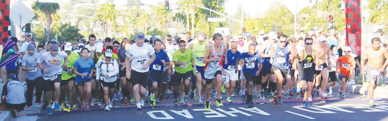 The start of last year's Grape Day festival's 10K run, sponsored by the Escondido Sunrise Rotary Club.