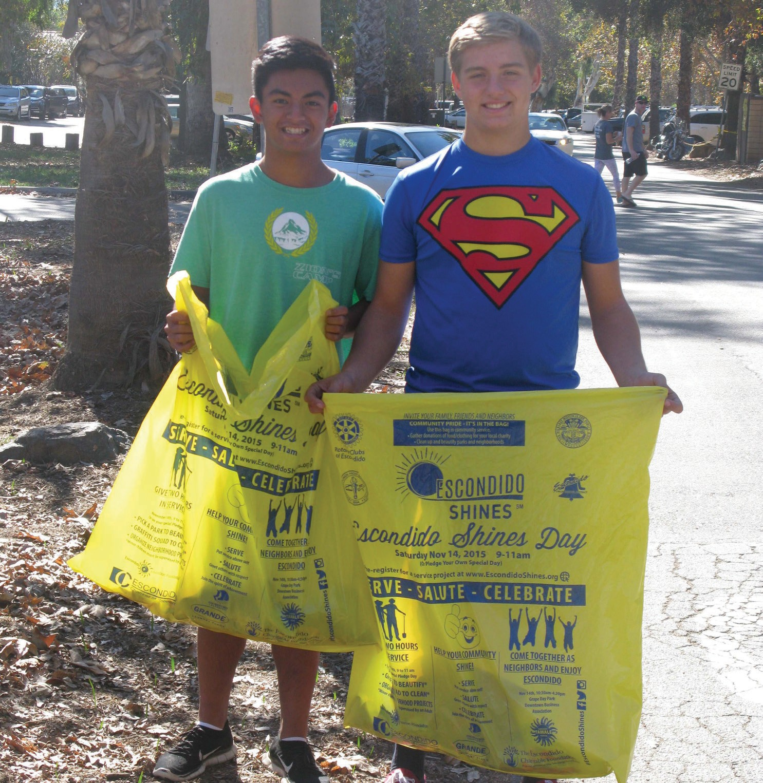 Luke De La Cruz of San Pasqual High School, left, and his friend Gavin Lucas participated in Escondido Shines at Kit Carson Park. Lucas attends Classical Academy High School. Photos by Doug Ross.