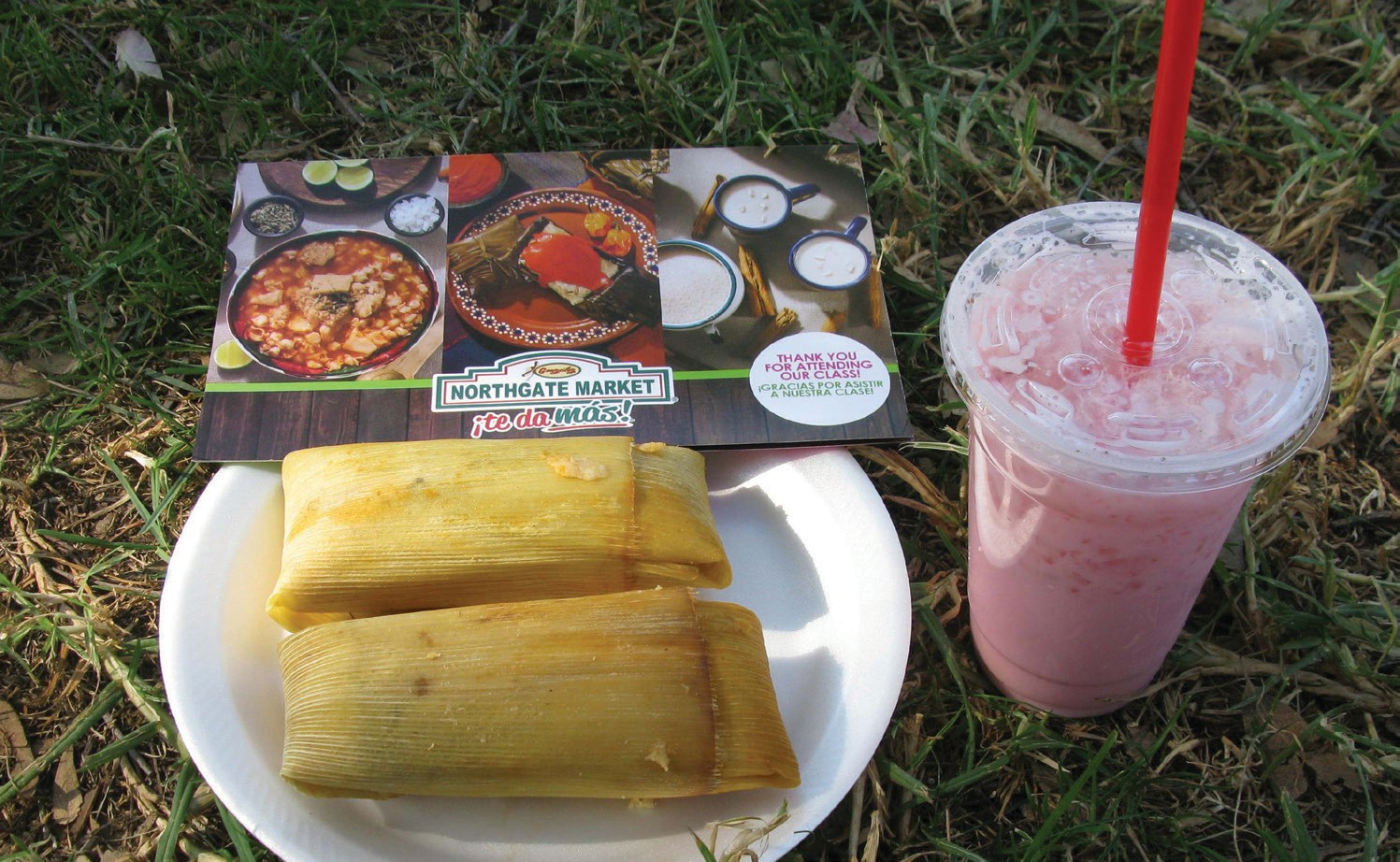 "The tamale (and delicious ""Fresas"" or strawberry drink) is an expression of the mixed culture of the American Southwest, a composition of Indian corn and ancient Mexican cuisine. The wrapped treat has enraptured hungry Californios of all persuasions."