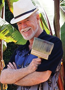 LEFT: Chuck McPherson will wield a broad brush at his watercolor demonstration and show for the Escondido Art Association in the DEB room at the Park Avenue Community Center on Feb. 10. Behind Chuck is his watercolor Torrey Trestle.