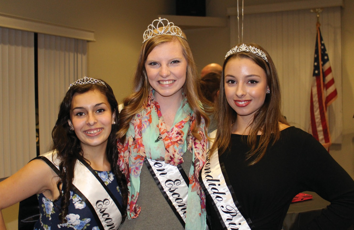 Left to right: Escondido Princess Court: Emma Rose Rowell - Princess, Cas­sidy McCoy - Miss Teen Escondido, Melissa Mladnik - princess.