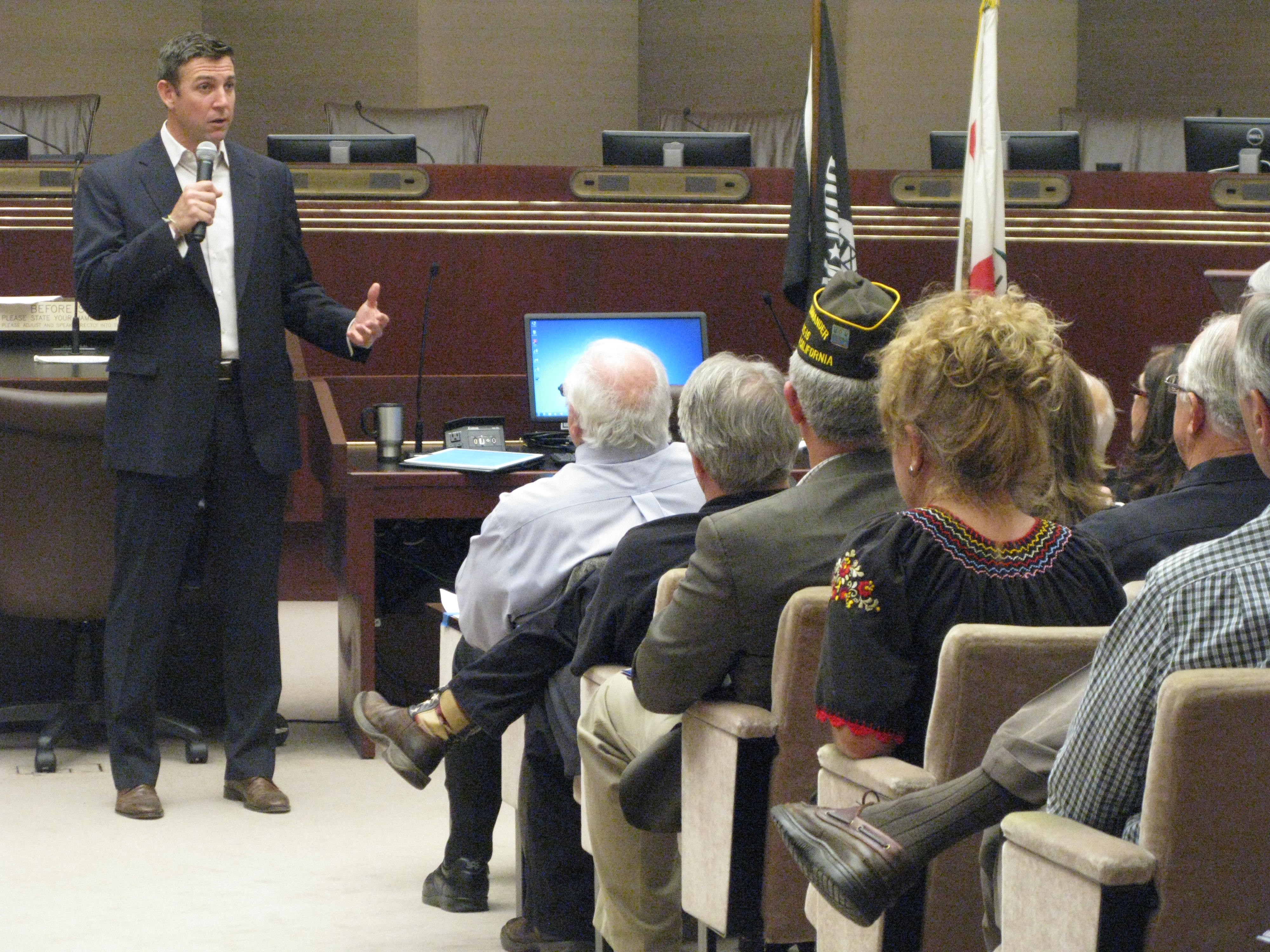 50th District Congressman Duncan Hunter spoke on a wide rage of subjects at a Town Hall-style meeting in the Escondido City Council Chambers Monday night.