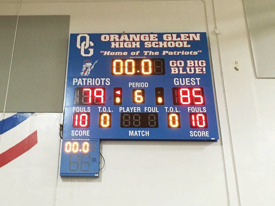 The final score reflects that the Orange Glen-Oceanside was, indeed, a high- scoring barn-burner.