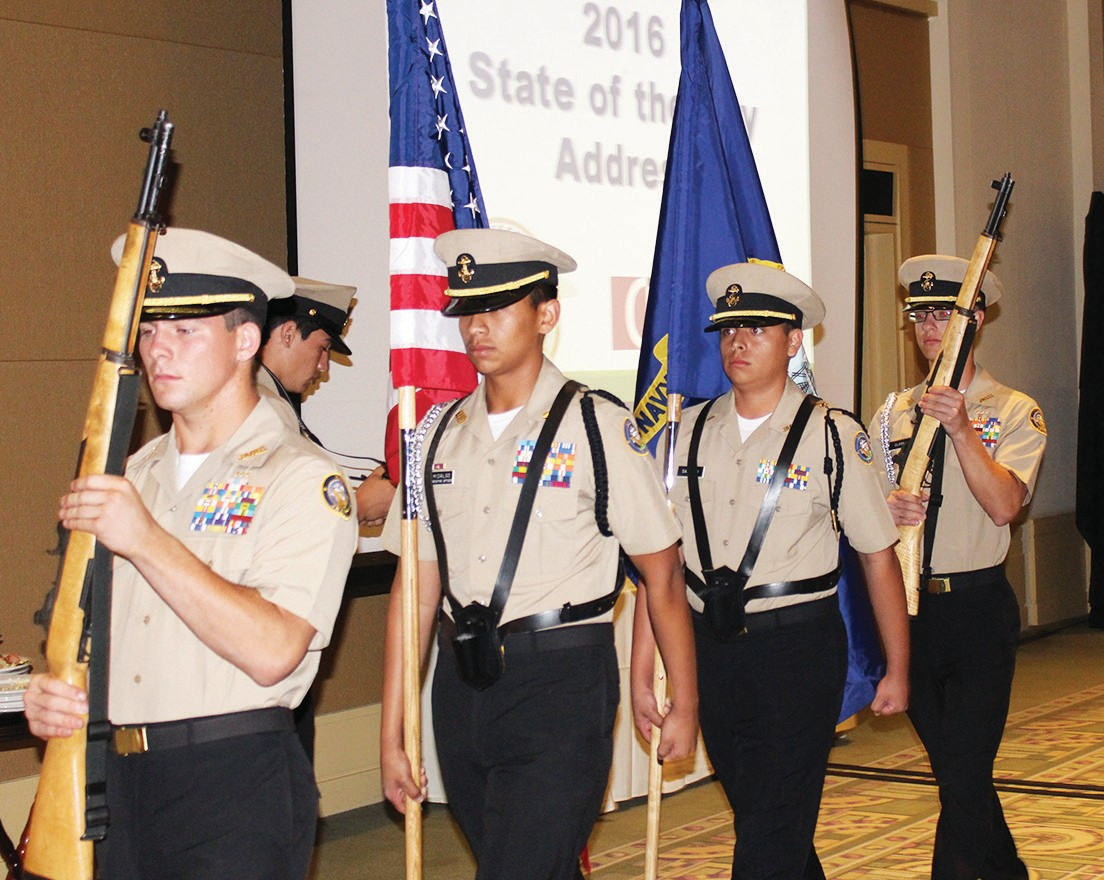 The Orange Glen High School ROTC, Charles Jenkins commanding served as honor guard for the Flag Salute and Pledge of Allegiance for the State of the City Address.