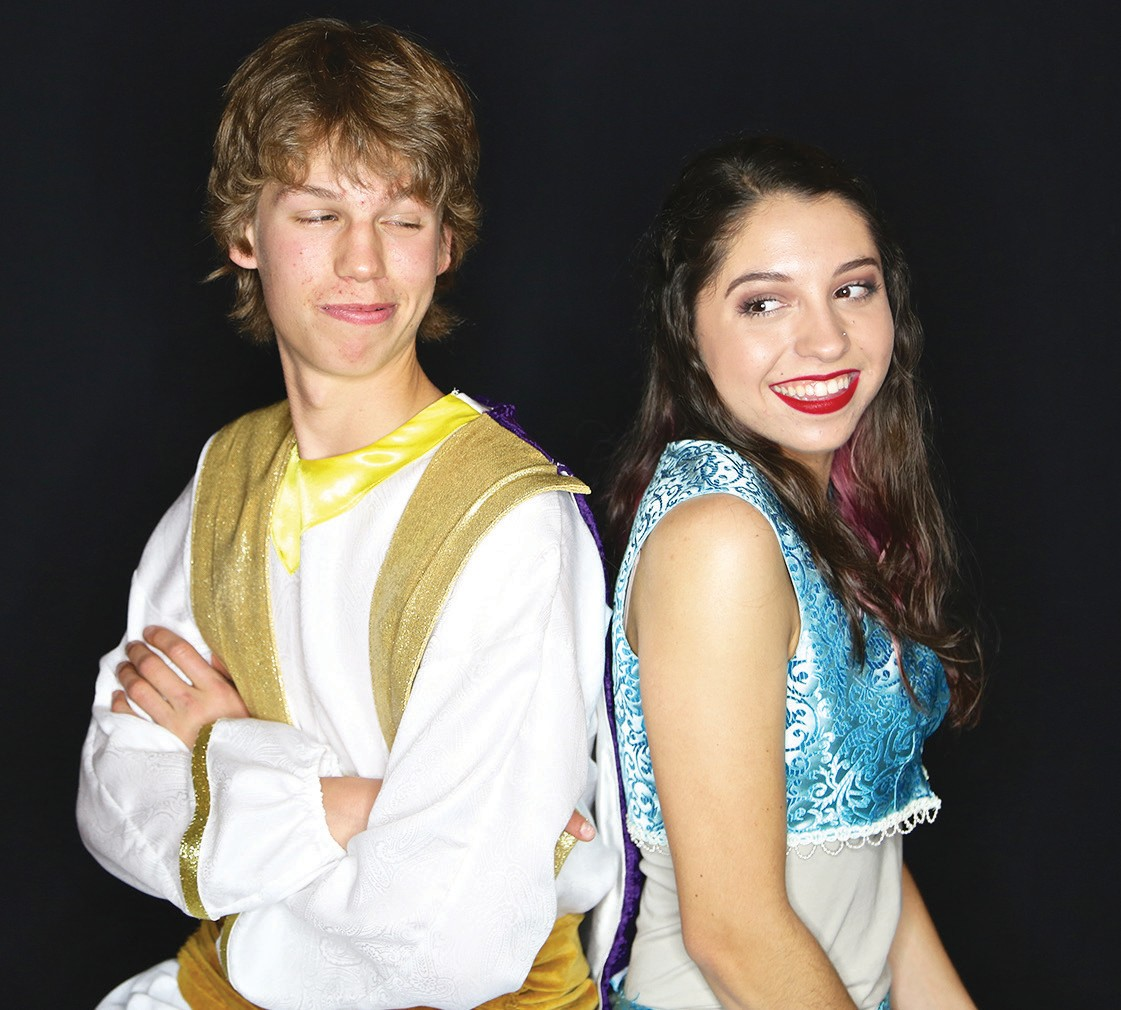 "Izaiah Rhinehart as Aladdin, Natasha Baenisch as Jasmine in the Patio Play­house production of ""Aladdin Jr."""