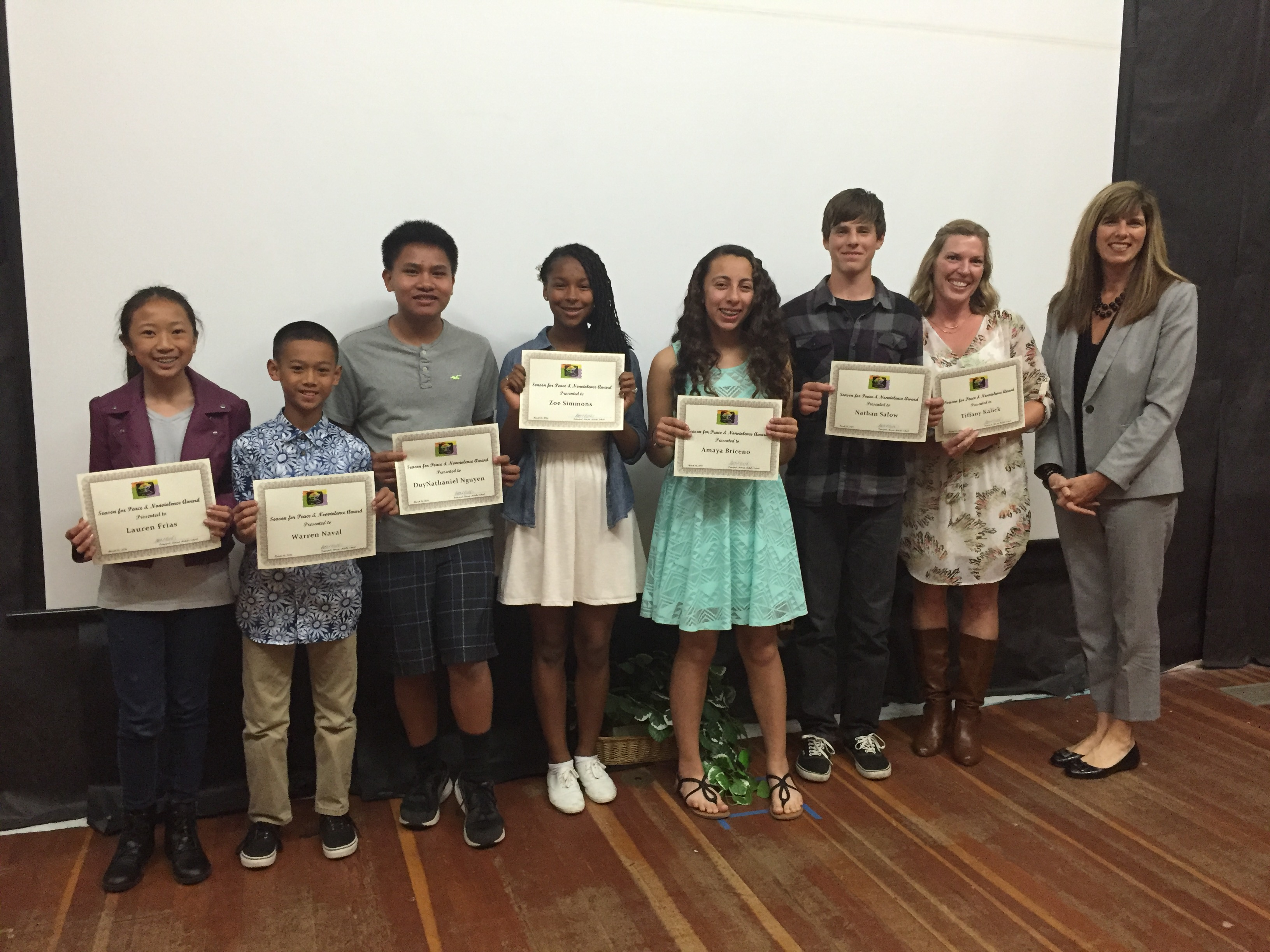 Recipients from Rincon Middle School with Principal Beth Crooks (far right).  From left to right:  Lauren Frias, Warren Naval, DuyNathaniel Nguyen, Zoe Simmons, Amaya Briceno, Nathan Salow, and Tiffany Kalick (school psychologist).