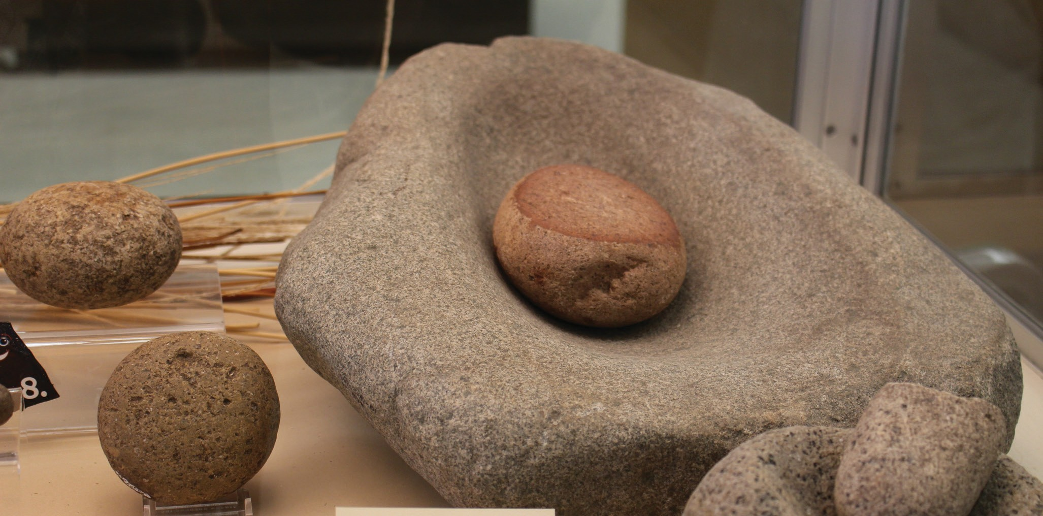 A metate or grinding station at the San Diego Archeological Center.