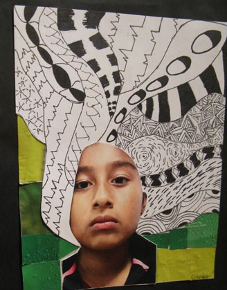 Collages such as the one at left and a My Story exhibit's photograph showed off the talents and imaginative depth of Escondido students.