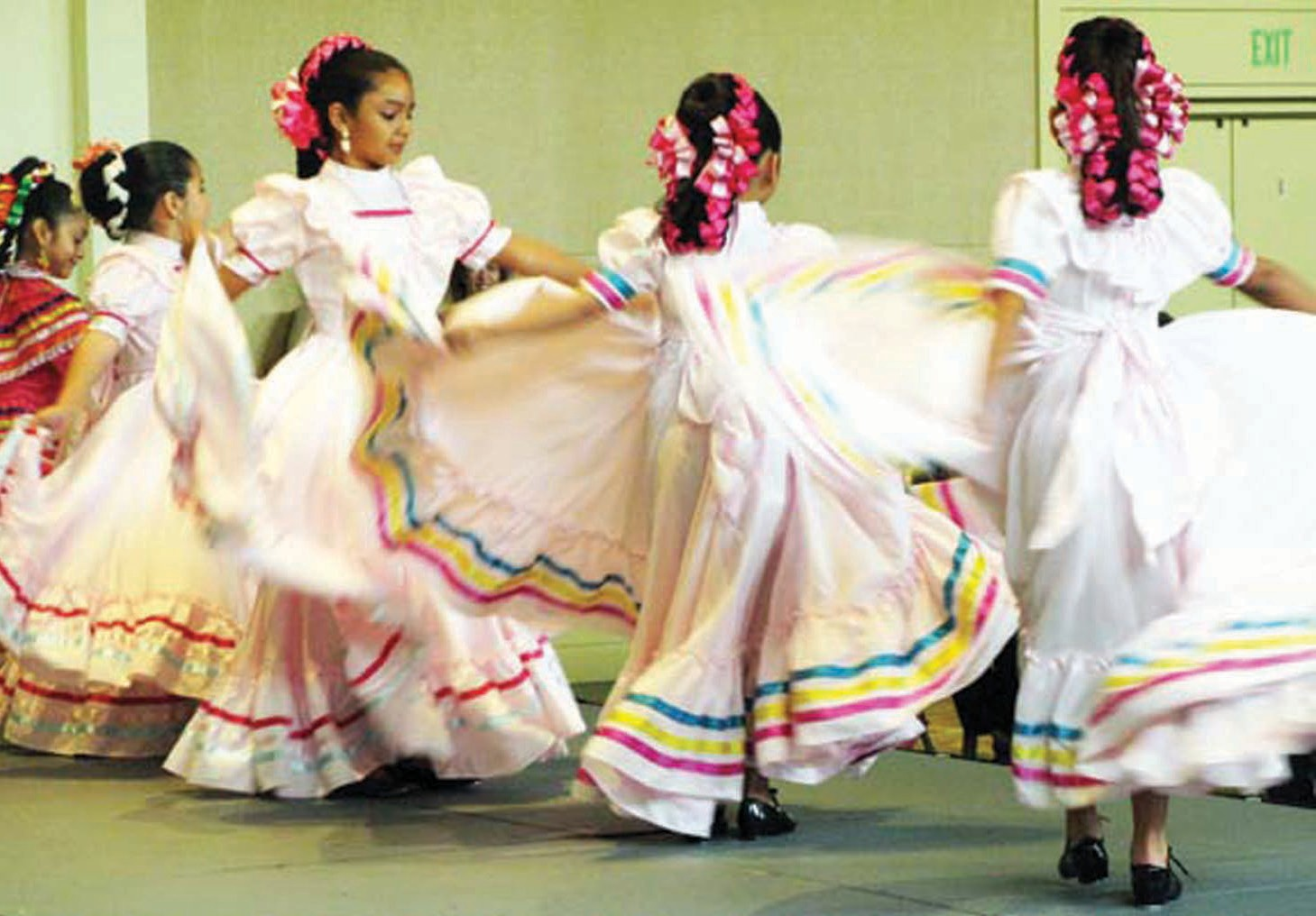 The dancers whirl to the traditional tunes.