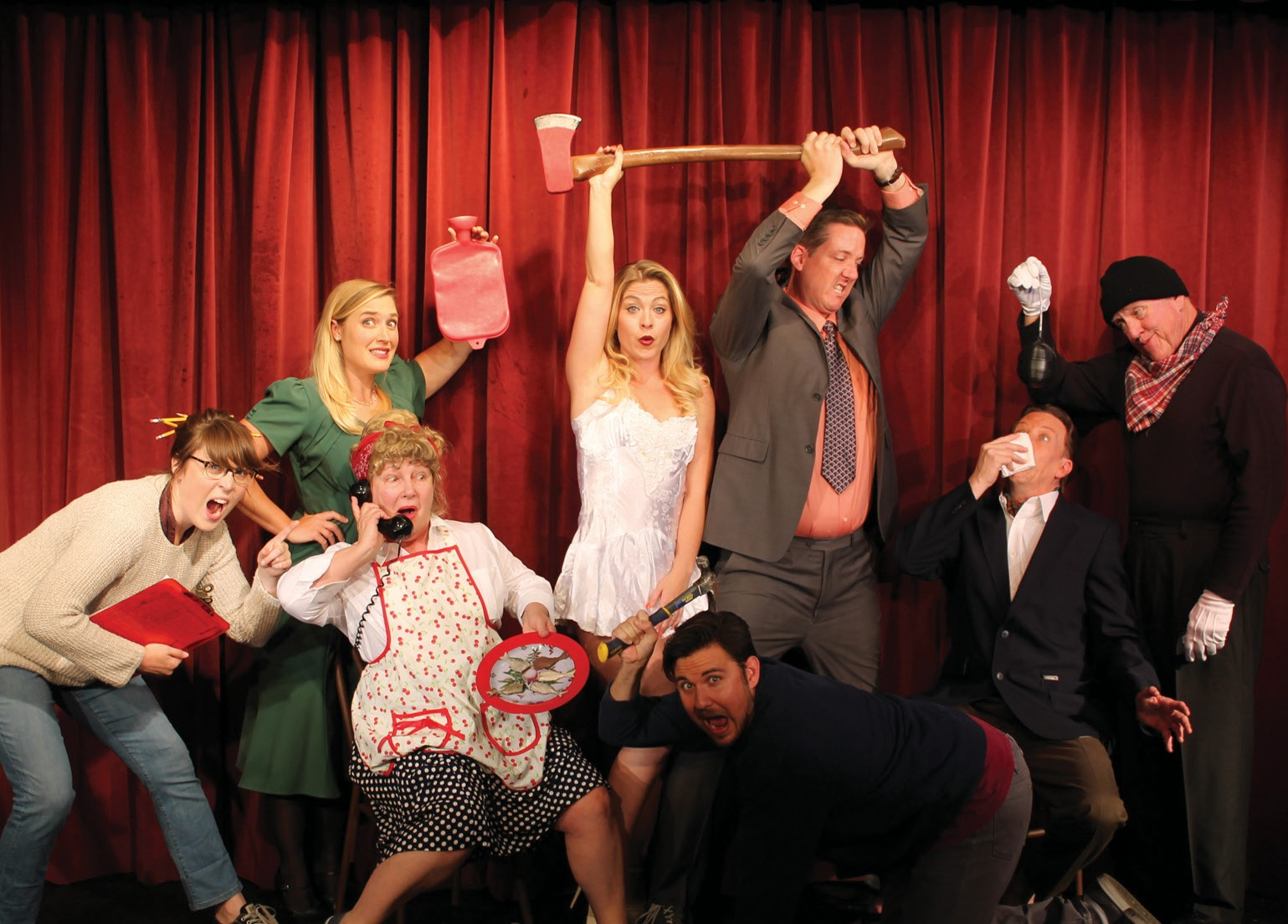 The Noises Off cast at Welk Resort Theater.