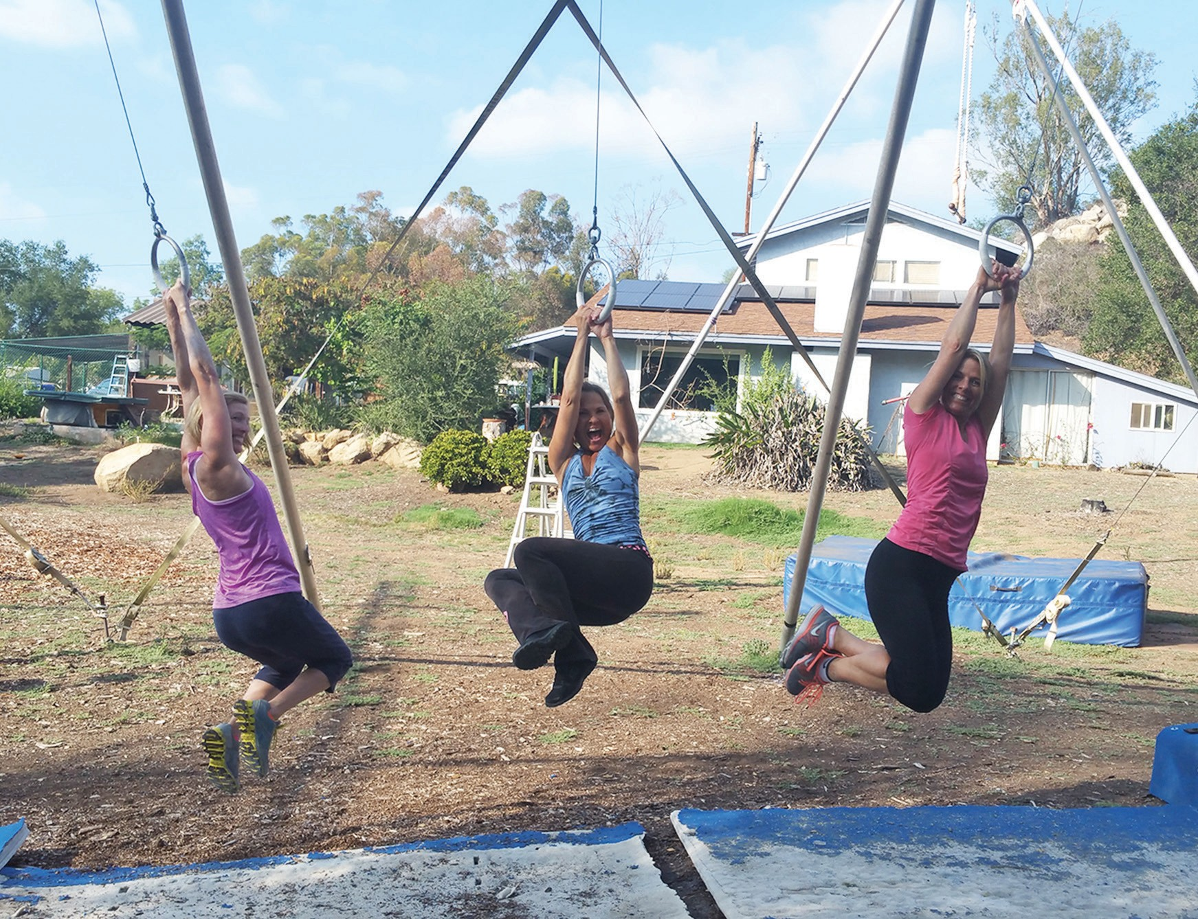 "Sharon Meredith of Fitness with Heart having some fun at the trapeze place in Escondido, at a location described as ""off the beaten path."""