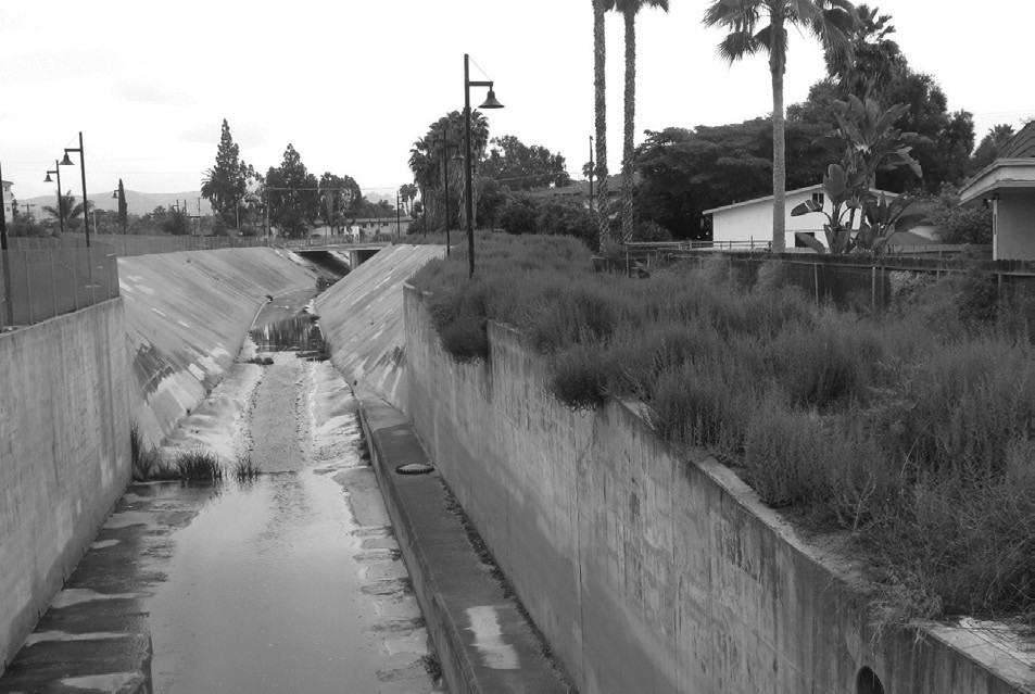 Escondido Creek looking east from Broadway turns into the concrete-lined ditch built by the Army Corps of Engineers in the 1960s.