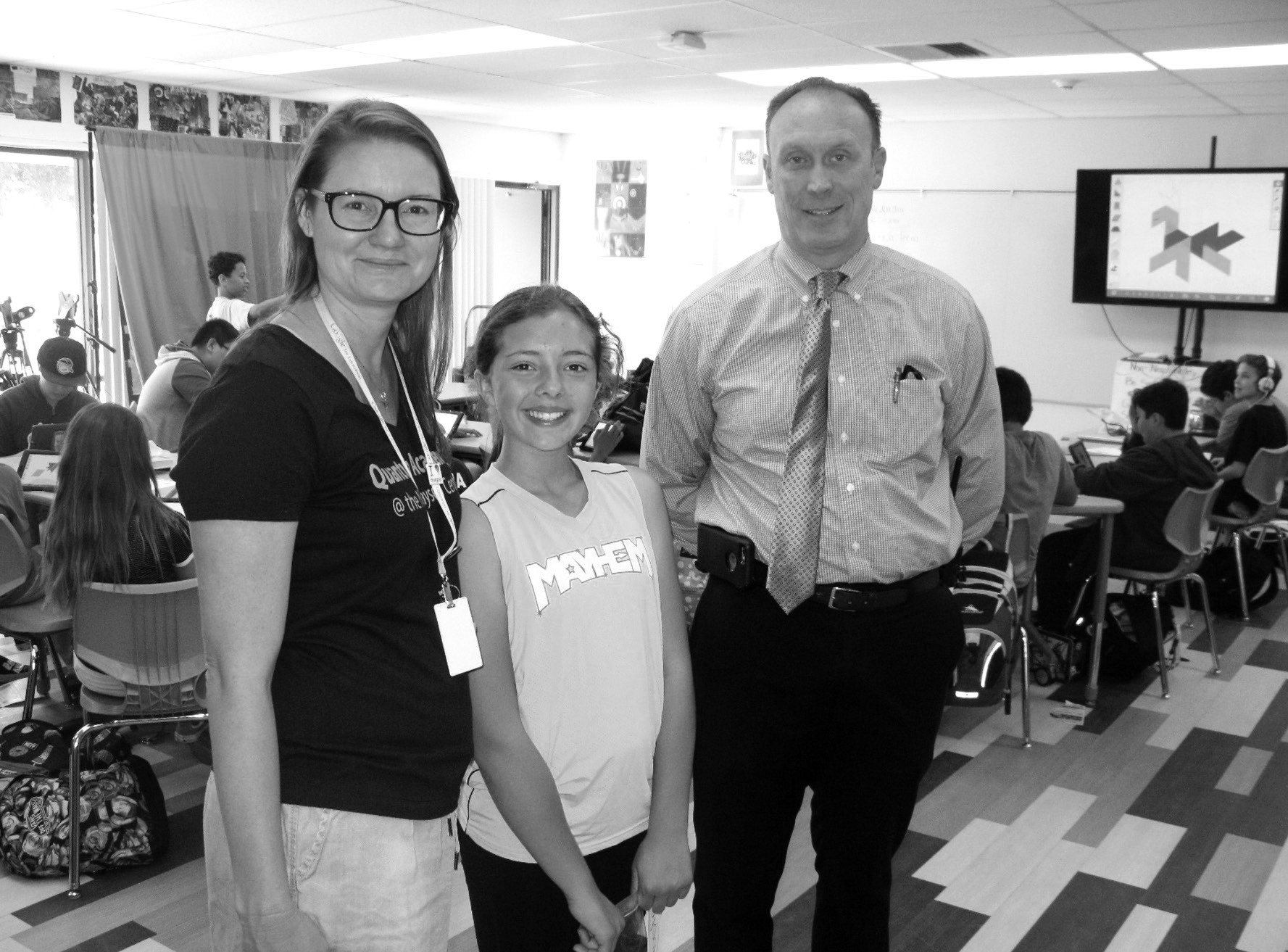 Jo-Ann Fox, greeter Samantha Galvas and Principal Ted Kirkbride gave a hands on briefing about education of the present and future at Quantum Academy last week.