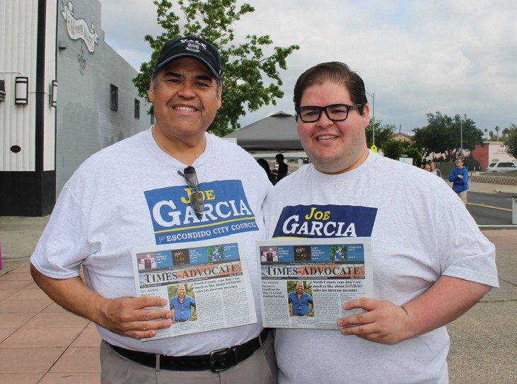 Joe Garcia and Joe Garcia Jr. were out campaigning. The older Joe Garcia is running for City Council.