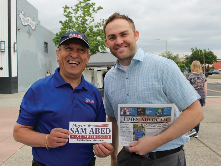 Mayor Sam Abed and T-A owner Justin Salter. Abed was campaigning for 3rd District Supervisor.