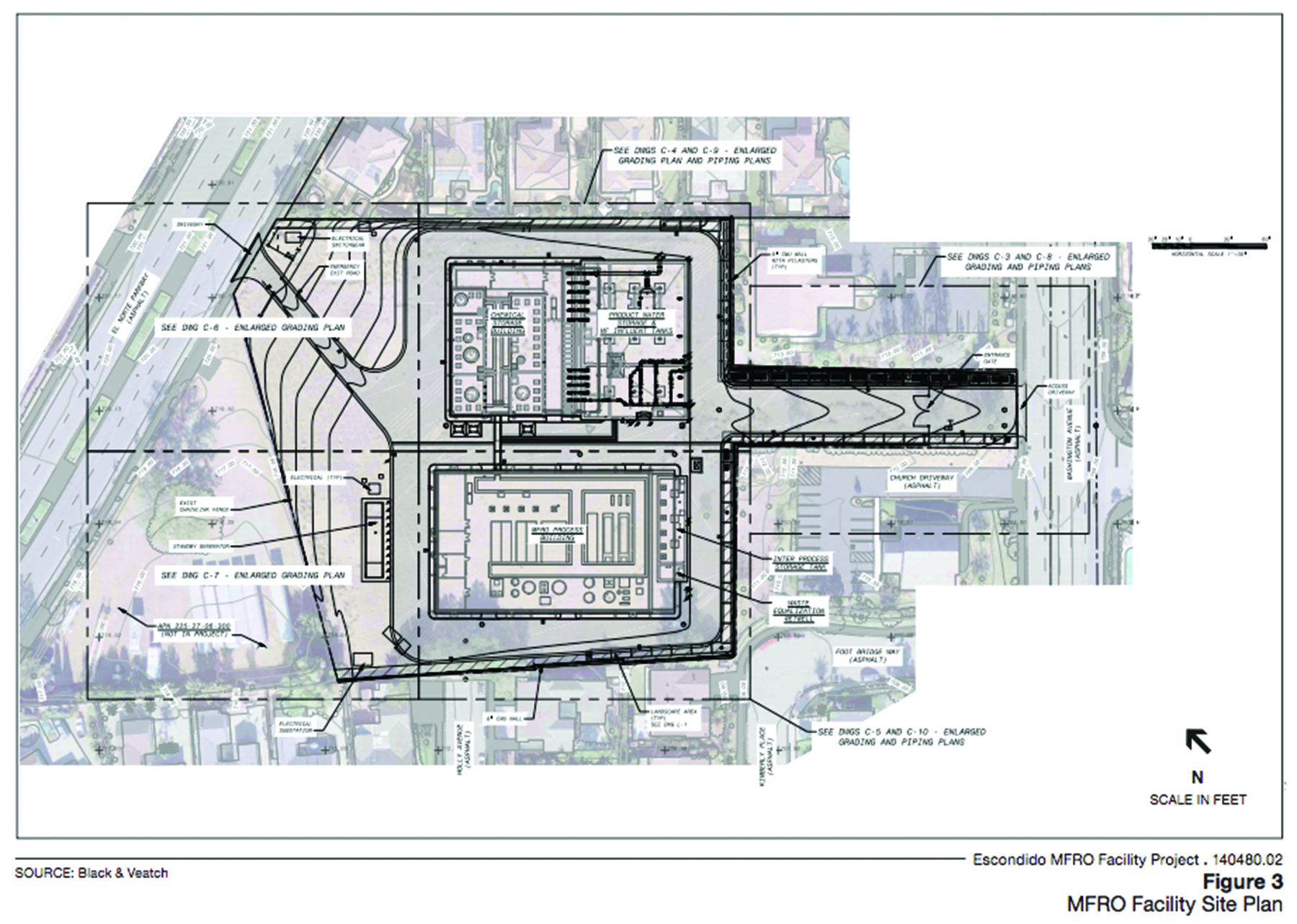 Image provided by the site plan for this specific facility project showing construction area surrounded by residential homes directly off of Washington Avenue.