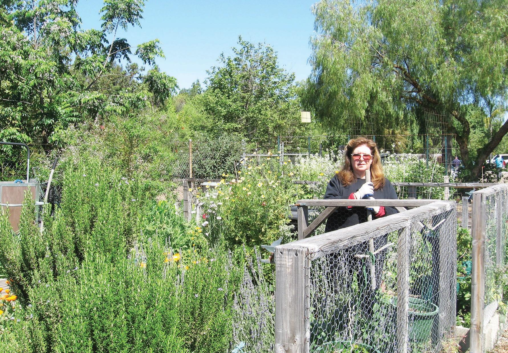 One of the community garden's board members, Mareena, in her garden.