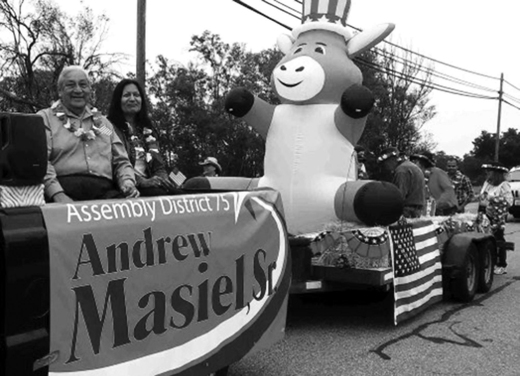 Assembly candidate Andrew Masiel riding in the Valley Center Days parade float.
