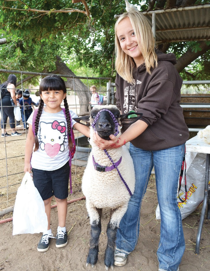 Cassandra Coffey, sophomore, giving a presentation about lambs to elemen­tary school students.