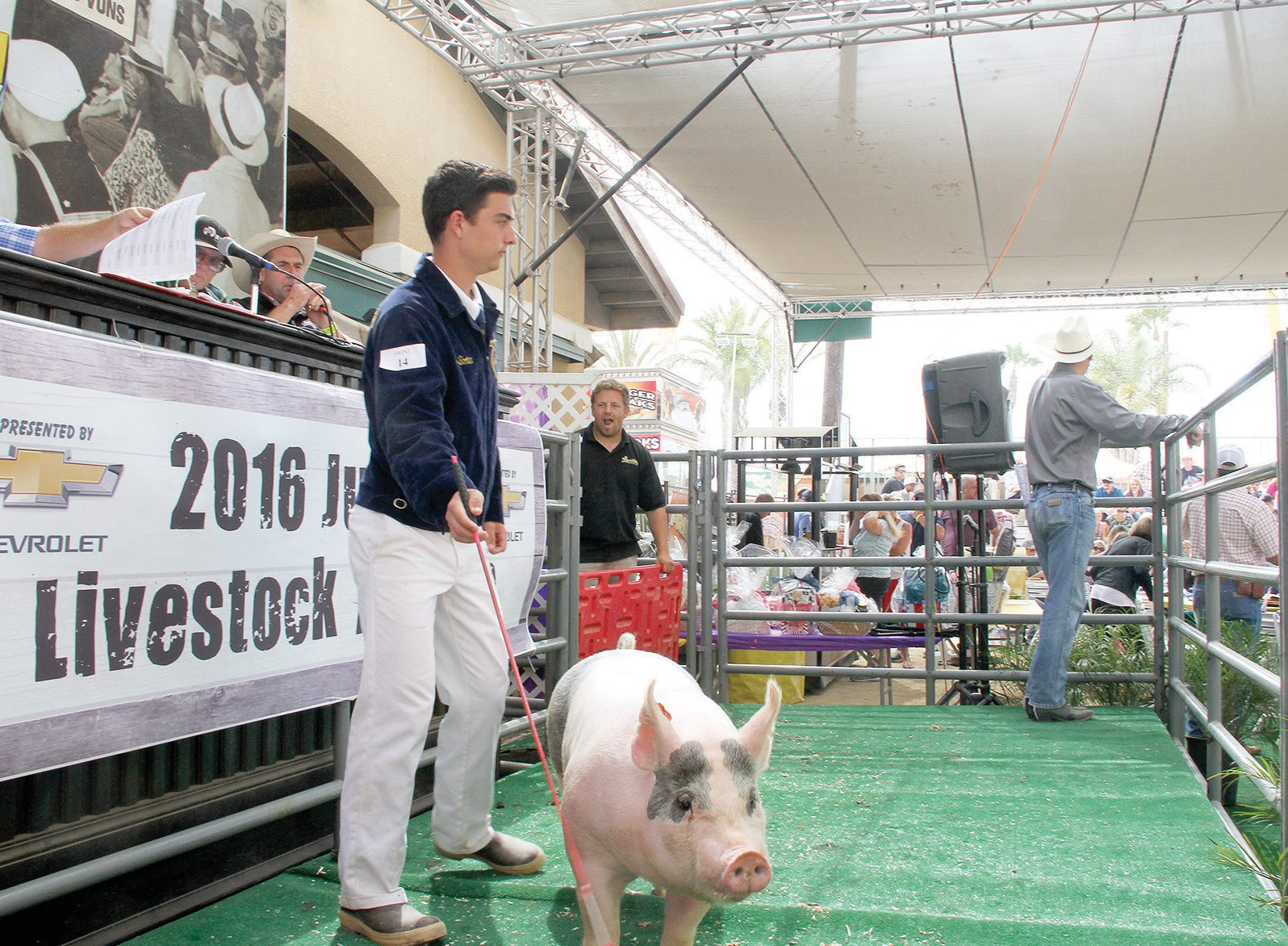 Escondido FFA member Drake Booten guides his 239 lb. pig around the auction block while bidding takes place. Photo by Carla Van Wagoner