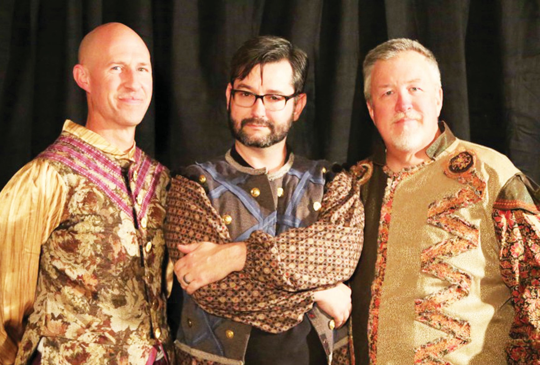 """The cast of """"Complete Works of William Shakespeare (abridged) [revised],"""" including David Pinson, Jaysen Waller, and Bruce Blackwell. Photo by Adriana Zuniga-Williams"""