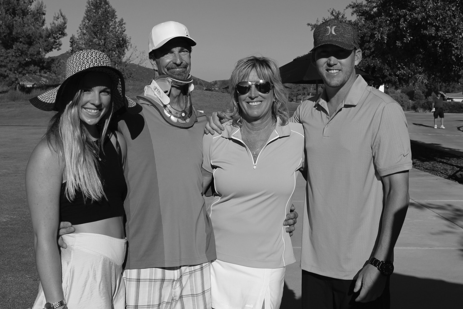 "Shown at last year's event is Jim McFarland, the beneficiary of ""Chip in for Jim"" (second from left), with his family (from left), Jordan McFarland, Jeanne McFar­land and Jon Forrest."