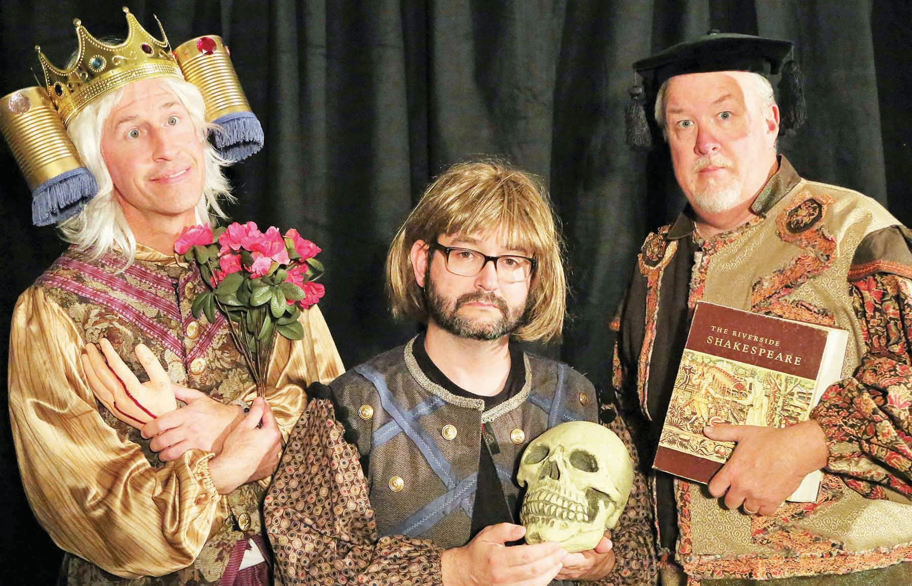"The cast of ""Complete Works of William Shakespeare (abridged) [revised]"": Da­vid Pinson, Jaysen Waller, and Bruce Blackwell."