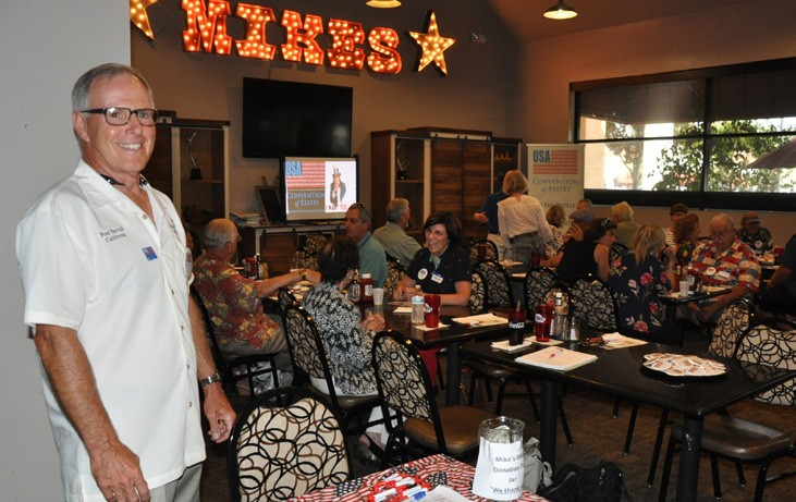 """Fred Yerrick, Regional Captain, greeted visitors to the """"meet and greet"""" on Saturday at Mike's BBQ. Photos courtesy of Dianne Benoit"""