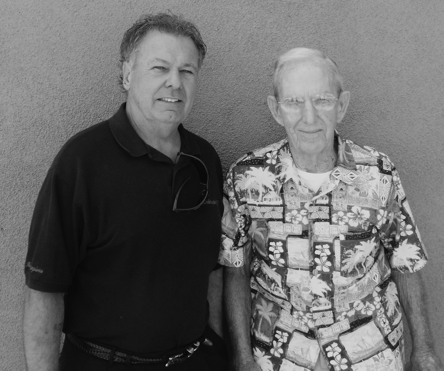 "Legendary Escondido football coach ""Chick"" Embrey (right) poses with friend and Valley Center tennis coach, Tom Helms. Photo by Jim Tal Evans"