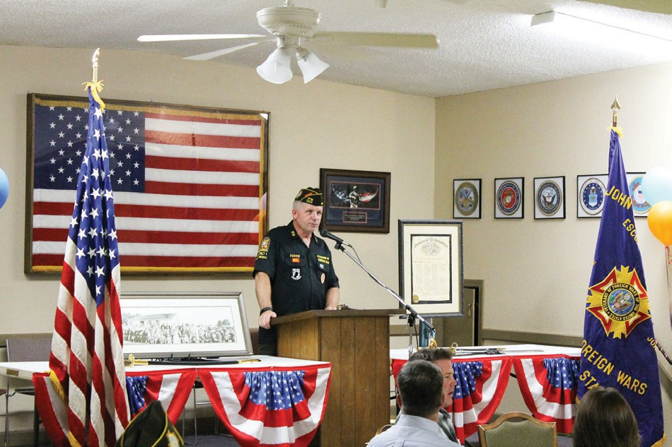 Post Commander Matt Foster addressing the celebrants of the 89th anniversary of the formation of Veterans of Foreign Wars Post 1513.