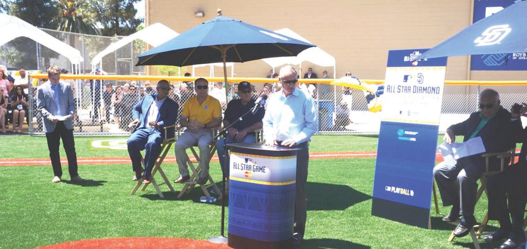 Commissioner of Baseball Rob Manfred led the dedication of the new diamond.
