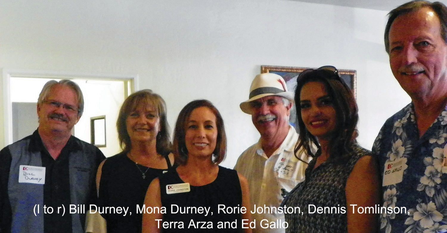 Group Photo: Bill and Mona Durney with Rancho Computer Networks; Rorie Johnston, CEO of Escondido Chamber; Dennis Tomlinson; Terra Arza of Golden Looks Salon; and Ed Gallo, City Councilman gathered for a group photo.