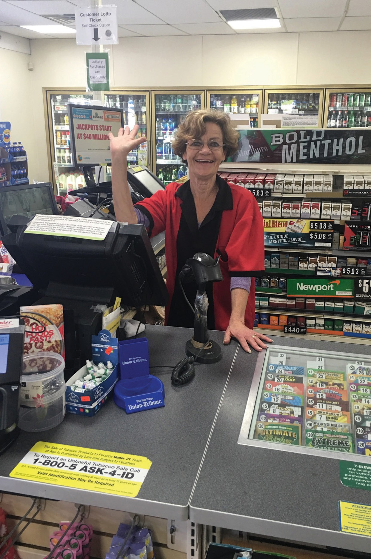 Dorothy Glum during her last week of work at 7-11 before leaving to move to Florida.