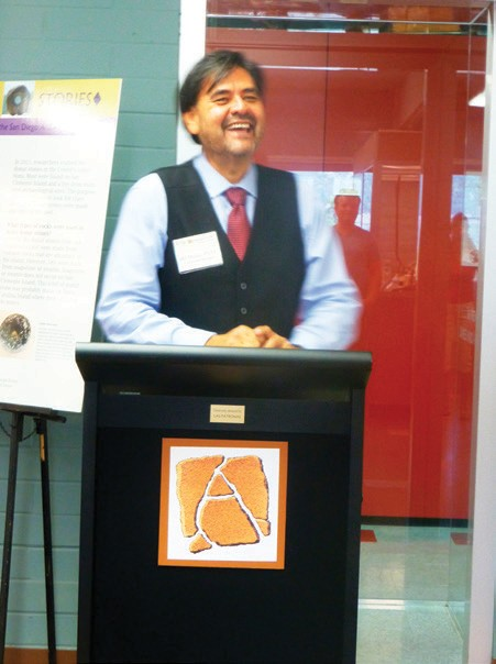 Ad Munoz, who put together the exhibit, talking at the recent reception held when the exhibit opened. He provided background on the exhibit and thanked the people and organizations that made the exhibit possible.
