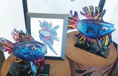 Award winning art piece by 10-year-old Pahel Srivastiva and James Stone for World Ocean Day. Photos by Anne Hall