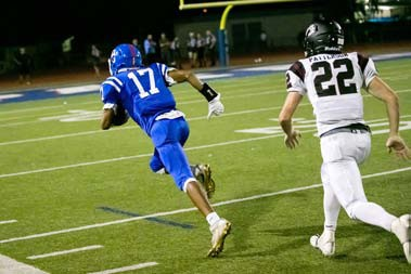 Malachi Russell leaves defender Ty Patterson in his wake while heading towards a spectacular third touchdown.