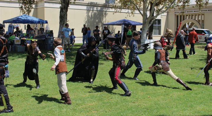 Nerds practice some form of nerdy combat Saturday in front of the California Center for the Arts Escondido.